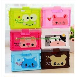 Korean cartoon folding storage box large plastic storage box covered storage consolidation