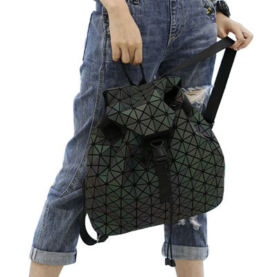 outlet Leatury Luminous Backpack Diamond Lattice Bag Travel Geometric Women  Fashion Bag Teenage Girl 87616fe50752e