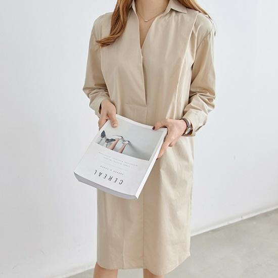 ピピンブルレッコットンカラネックワンピース34831 綿ワンピース/ 韓国ファッション