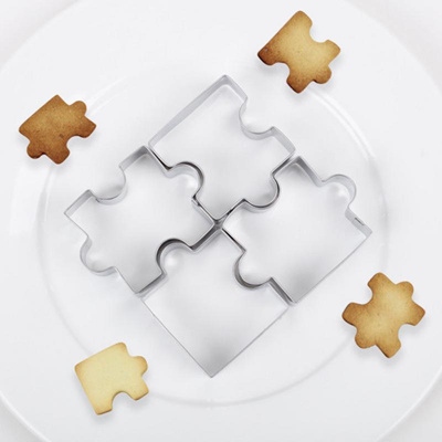 Cookies Mold Puzzle Shape Kitchen Tool Biscuit Bakeware Cookie Cutter Set 4Pcs