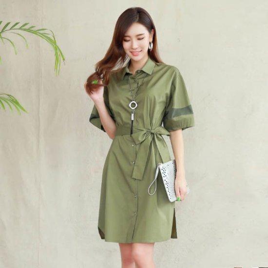 スタイルオンミ・バルーン配色小売シャツ型ワンピース 綿ワンピース/ 韓国ファッション