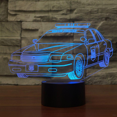 Creative 7 Colors 3D Car Shape Nightlight Bedroom Decor LED Police Desk  Table Lamp Baby Sleep