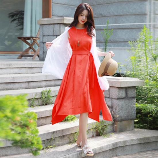 スタイルオンミツイン開けたことベルトsetロングワンピース 塔/袖なしのワンピース/ 韓国ファッション