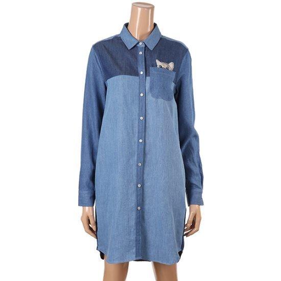 ポール・アンド条猫ポケットシャツ型ウォンビス1PSSG5DR148 面ワンピース/ 韓国ファッション