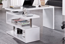 (FREE SHIPPING TO West Malaysia) Wooden Desk with 2-Tier Swivel Storage Shelf (Metal Support)