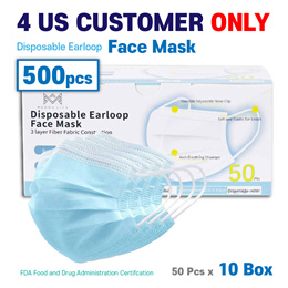 Ship from LA Office[(Merry life) Disposable Earloop Face mask (FDA) 50*10 = 500Pcs