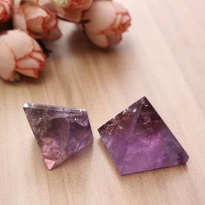 20/25mm Amethyst Pyramid Crystal Gemstone Healing Orgone Grid Negative  Energy