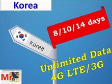 Korea Sim card [SK Telecom] : 4GLTE + Unlimited DATA 6/8/10/14 days* SK 텔레콤 SIM 카드