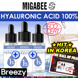 BREEZY ★ 15000 SOLD OUT IN KOREA! VALUE FOR MONEY! [MIGABEE] 1+1+1Hyaluronic Acid 100% Solution 30ml