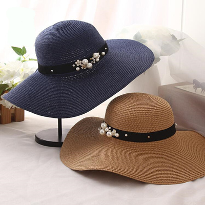 7b5f6eb3154ec wholesale oZyc New Spring Summer Hats For Women Flower Beads Wide Brimmed  Jazz Panama Hat Chapeu