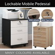 Lockable Office Home Wooden Mobile Pedestals with top lock