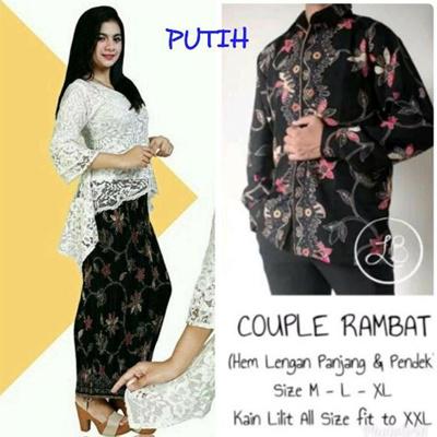 Couple Stelan Kebuk Brukat Raeska Women's Plisket Maxi Jumbo Skirt and Men's Batik Shirt