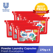 [$0.24 Per Capsule) Breeze 3-in-1 Power Laundry Capsules 270g (18 pcs x 6 boxes)