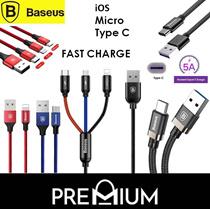 BASEUS REMAX Pengisian Daya Cepat Kabel USB Petir Tipe Mikro C USB C Samsung Andriod iPhone 8 X 7 6