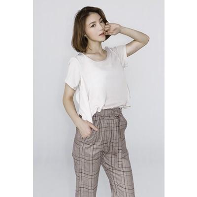 16. side frill blouse-light gray bei-F