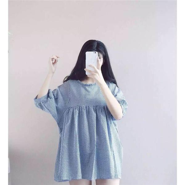 【送料無料】レディース ワンピース 五分袖 ショート チェック ブルー フリーサイズ 2017 新作