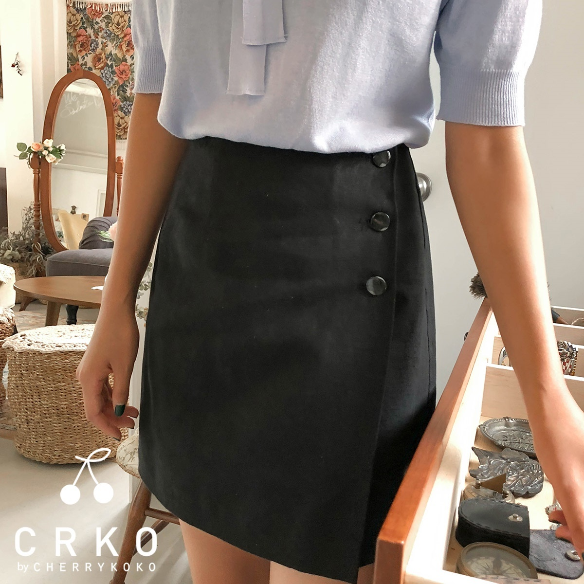 [CHERRYKOKO官方旗艦店] 時尚黑色迷你裙 / marvella skirt