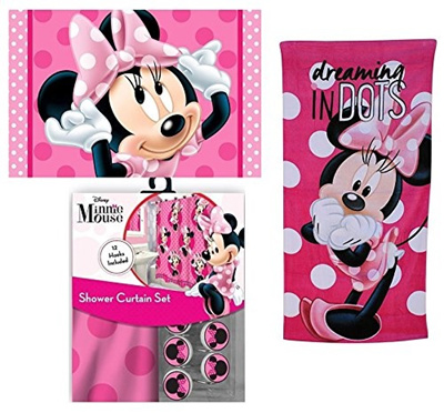 SL Home Fashions 15pc Disney Minnie Mouse Shower Curtain Bath Towel Foam Mat Hooks Set