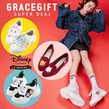 Gracegift-Disney Alice Mickey Tsum Tsum Shoes Heels Flats Mules Boots