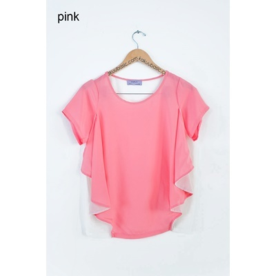16. side frill blouse-pink-F
