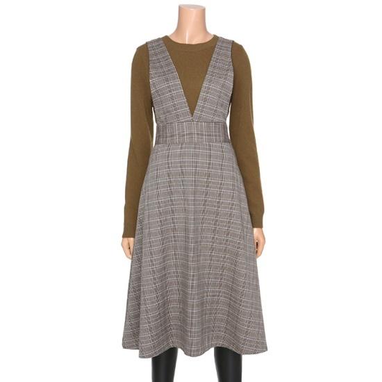 [タグ]タータンチェックAラインワンピースS174W906 面ワンピース/ 韓国ファッション