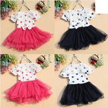 Bayi perempuan anak-anak putri renda titik busur T-shirt Tulle Tutu dress Baby girl children princess lace bow dot T-shirt dress Tutu Tulle KID SJA3237482734823 HSL qty000