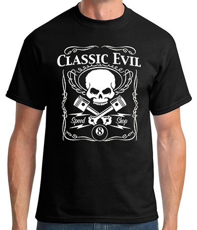 792f645b660e41 Mens Classic Evil Skull Graphic Tee men s Cotton fashion T-shirt Black
