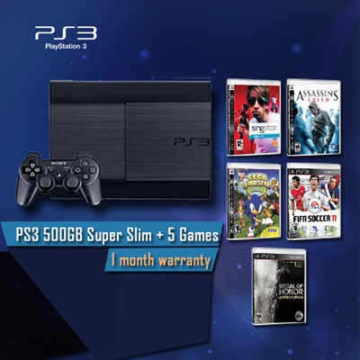 Qoo10 - PS3 Super Slim 500GB + 5 FREE Games : Computer & Game