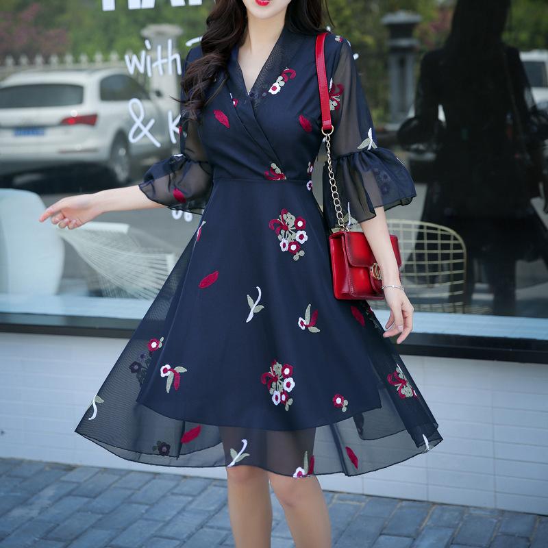 可愛い ワンピース♪ドレス 花柄 韓国ファッション セクシー パーティードレス 膝丈 結婚式 ドレス お呼ばれ 二次会 同窓会 旅行 デート カジュアル 通勤 普段着用