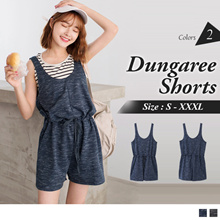 OB DESIGN ★ OBDESIGN ★ ORANGEBEAR ★ DRAWSTRING WAIST DUNGAREE SHORTS ★ 2 COLORS ★ S-XXXL SIZE ★