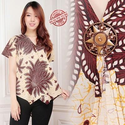 Blouse Padi Putih Kemeja Batik