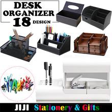 ★Office Table Organizer★ Stationery Organizer Wooden Leather Storage and File Organizer Papers