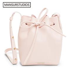 5c32d4e2fa2a factory 2017 MANSURSTUDIOS MINI bucket bag mansur women Split leather MINI  shoulder bag lady leathe