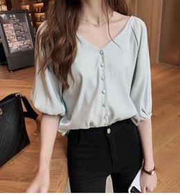 春夏新款时尚宽松雪纺衫女短袖上衣洋气衬衣纯色