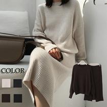 【国内発送】バックスタイルがポイント♪全4色♥着回しできるリブニットセットアップワンピース💗生地しっかりしてます♪韓国ファッション