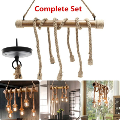 E27 Retro Double Heads Rope Pendant