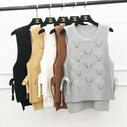 2016 Korean autumn winter new ladies vest straps cropped knit sweater vest vests Sleeveless Women s