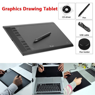 UGEE M708 10 x 6 Drawing Area Digital Art Graphics Drawing Tablet with  Rechargeable Pen (Color: Bla