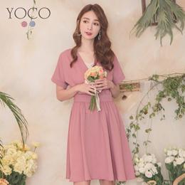 YOCO - V-neck Interlaced Waist Wrinkled Umbrella Dress-190353
