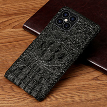 Genuine Leather 3D Crocodile head Phone Case for iPhone 12 11 Pro Max X XR XS Max SE 2020