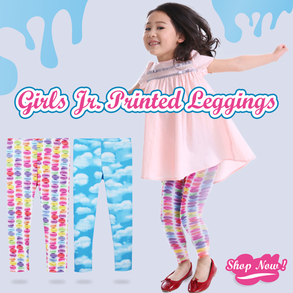 NEW!Girls Jr Printed Leggings_2 candy colors_Size XS-XL Legging anak kids leggings fashion kids Deals for only Rp49.000 instead of Rp49.000