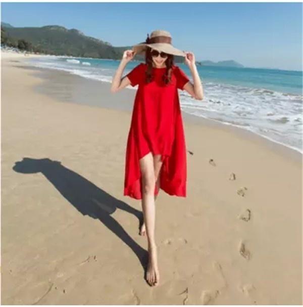 レディースワンピース ビーチワンピース 砂浜 ボヘミア風 レッド ファッション ハイセンス 着心地いい おしゃれ 夏 レディースワンピース