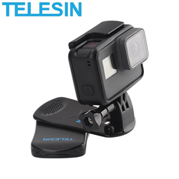 TELESIN 360 Rotary Clip Clamp Mount Backpack Bag Strap for GoPro / SJCAM / Xiaomi Yi