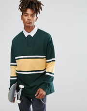 79ddd6fded7 ASOS Oversized Long Sleeve Rugby Polo Shirt With Contrast Paneling In Green