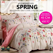 SOL HOME ® 4 PCS Bedsheet Set - Spring - 1 Fitted Sheet + 2 Pillow Cases + 1 Quilt Cover-Height 45cm