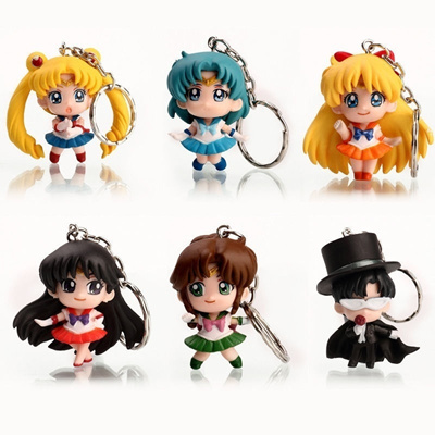 Sailor Moon key chains figure figures set of 5PCS PVC toy doll L335 NEW