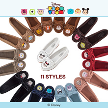 Gracegift-Disney Tsum Tsum Bow Tie Embroidery Moccasins/Women/Ladies/Girls Shoes/Taiwan Fashion