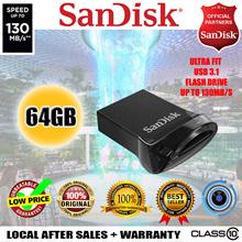 Sandisk Ultra Fit 64GB USB 3.1 Flash Drive - 130MB/s Memory Stick Data Transfer 5 Year Warranty