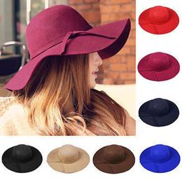 COUPON  Vintage Women Faux Wool Wide Brim Felt Bowler Fedora Hat Lady Floppy  Cloche 51dc88ae5d61