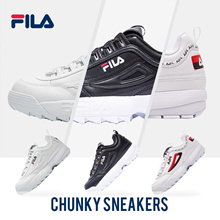 FILA Fashion Shoes/Men/Women/Unisex/DISRUPTOR II Leather Shoes/RAY/Chunky Sneakers